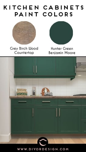 Cool Light Wood Countertop and Hunter Green Paint Color for Kitchen Cabinets