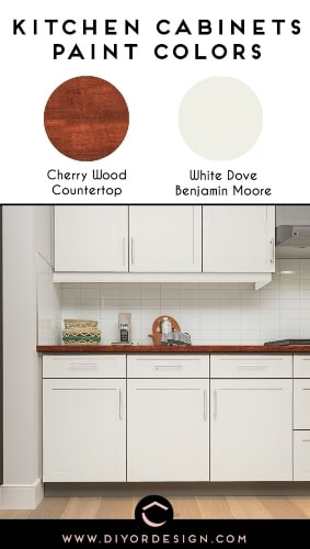 Warm Dark Wood Countertop and White Dove Paint Color for Kitchen Cabinets