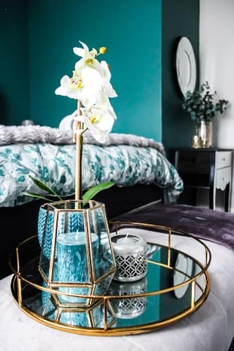 Cool Color Scheme with Warm Metals