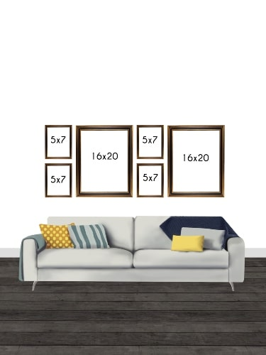 Gallery Wall Layout with Sizes