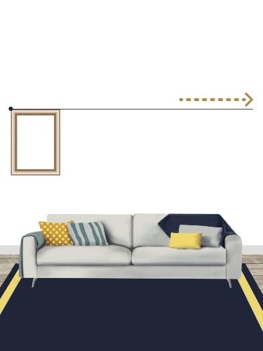 gallery wall layout above a couch