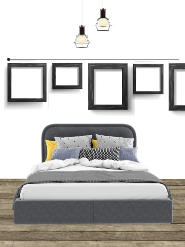 gallery wall layout above bed